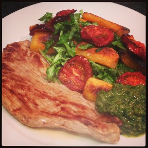 Butternut squash, veal and salsa verde