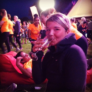Em has some well-earned prosecco (lots of it)