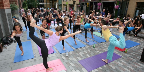 Outdoor yoga at St Martin's Place