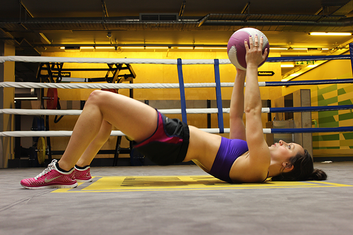 Glute Bridge with Medicine Ball - Lunges and Lycra - Frankei Holah