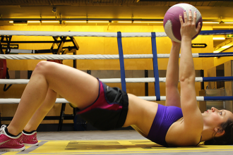 Glute Bridge with medicine Ball - Lunges and Lycra - Frankie Holah - Slider