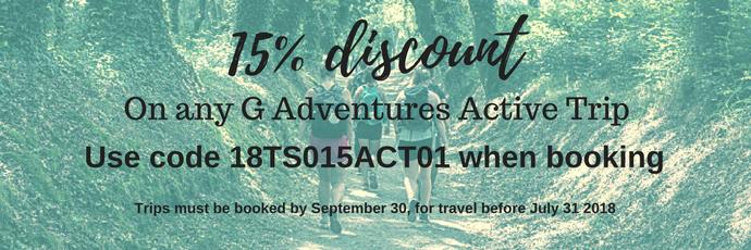 15% discount G Adventures
