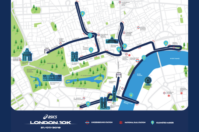 Asics London 10k route map